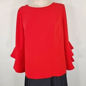 J Crew Tiered Bell-sleeve Top size 10 H2197
